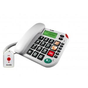 Teléfono de teclas grandes, con fotos y colgante con botón de alarma.
